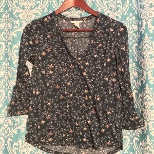 H&M Green Floral Print Shirt